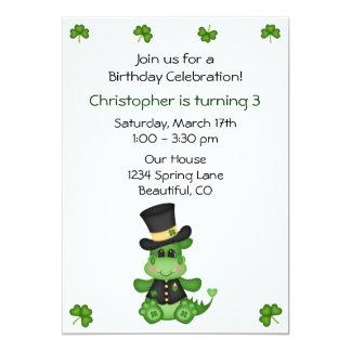Cute Dragon St Patrick's Day Birthday Invite Boys