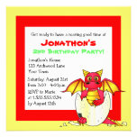 Cute Dragon Themed Child Birthday - Red and Yellow Personalized Invitations