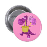 Cute Dragon With Cupcake Button