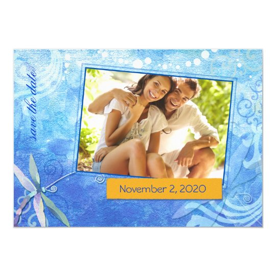 Cute Dragonfly Blue Photo Save the Date Invitation