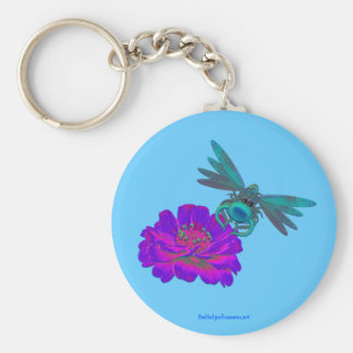 Cute Dragonfly on Flower Keychain