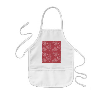 Cute dragonfly pattern of white ON red ground Kids Apron