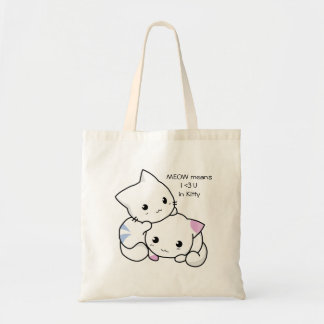 Cute Drawing of Boy and Girl Kitten in Love Budget Tote Bag