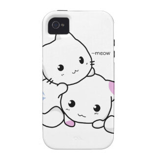 Cute Drawing of Boy and Girl Kitten in Love iPhone 4/4S Case