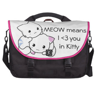 Cute Drawing of Boy and Girl Kitten in Love Computer Bag