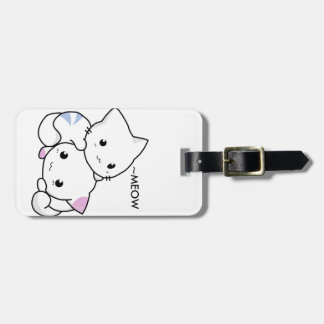 Cute Drawing of Boy and Girl Kitten in Love Luggage Tag