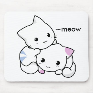 Cute Drawing of Boy and Girl Kitten in Love Mouse Mat