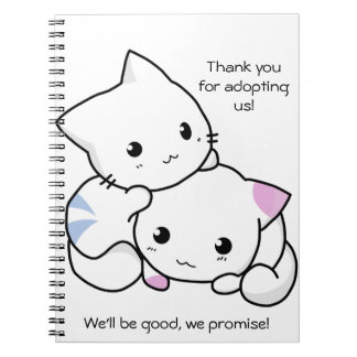 Cute Drawing of Boy and Girl Kitten in Love Notebooks