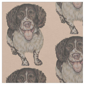 Cute Drawing of Happy Spaniel Fabric