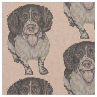 Cute Drawing of Happy Spaniel Fabric