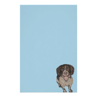 Cute Drawing of Happy Spaniel on Stationary Stationery Paper