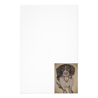 Cute Drawing of Happy Spaniel on Stationary Customized Stationery