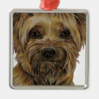 Cute Drawing of Happy Yorkie Silky Christmas Ornament