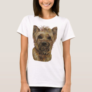 Cute Drawing of Happy Yorkie Silky T-Shirt