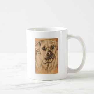 Cute Drawing of White Lab Puppy Dog Coffee Mug