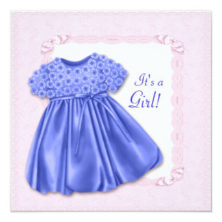 Cute Dress Pink and Purple Baby Girl Shower 13 Cm X 13 Cm Square Invitation Card