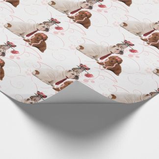 Cute Dressed Up Dogs Pink Carnation and Pearls Wrapping Paper