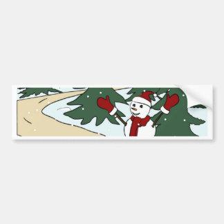 Cute dressed up snowman bumper stickers