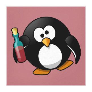 Cute Drunken Penguin Art on Purple Stretched Canvas Prints