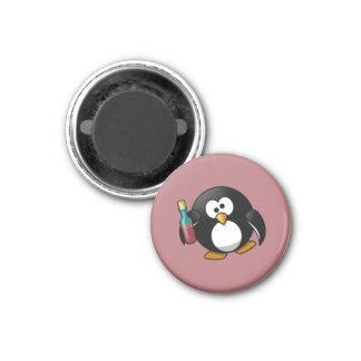 Cute Drunken Penguin Art on Purple Fridge Magnet