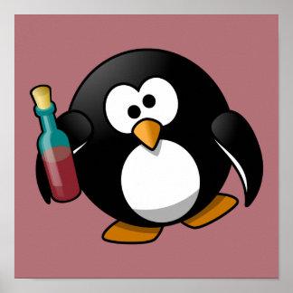 Cute Drunken Penguin Art on Purple Print