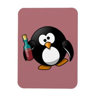 Cute Drunken Penguin Art on Purple Vinyl Magnets