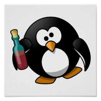 Cute Drunken Penguin Art Poster
