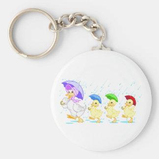 Cute Duck Family in Rain Keychains