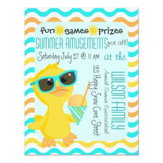 Cute Duck in Sunglasses Holding a Sonw-Cone 11 Cm X 14 Cm Invitation Card