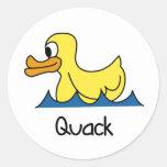 Cute Duck Round Stickers
