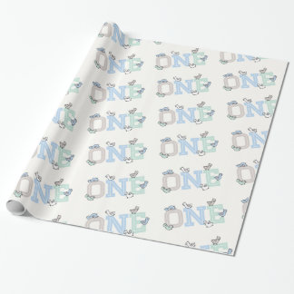 Cute Ducks Big One Boy 1st Birthday Gift Wrap