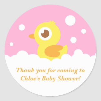 Cute Ducky in Bubble Bath for Girl Baby Shower Round Sticker