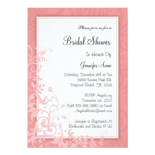 "Cute Dusty Rose PINK Bridal Shower Invite 5"" X 7"" Invitation Card"