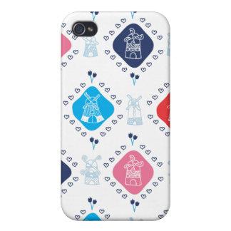 Cute dutch windmill pattern tulip iphone case iPhone 4/4S case