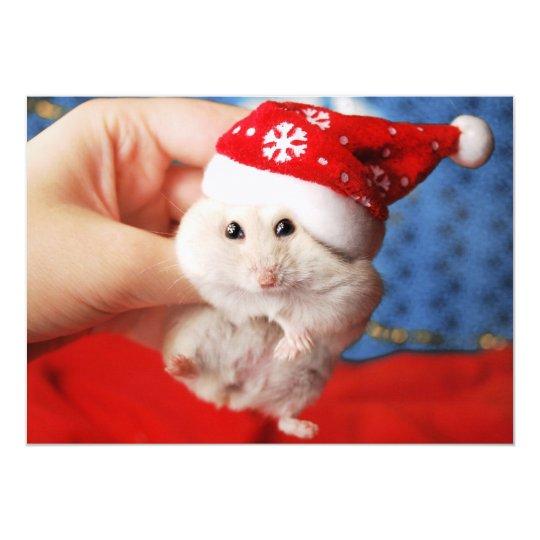 Cute dwarf hamster Tutku with Santa Claus hat
