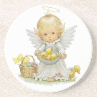 Cute Easter Angel and Ducklings Beverage Coaster