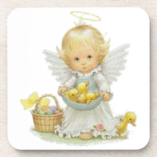 Cute Easter Angel and Ducklings Coaster