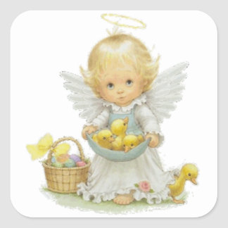 Cute Easter Angel and Ducklings Square Sticker