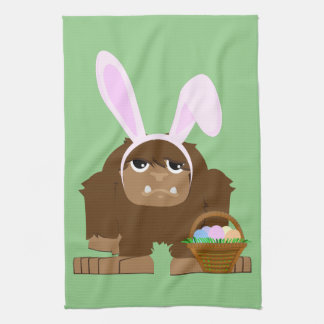 Cute Easter Bigfoot Tea Towel