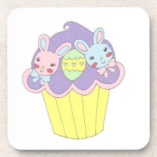 Cute Easter Bunnies Cupcake Drink Coasters