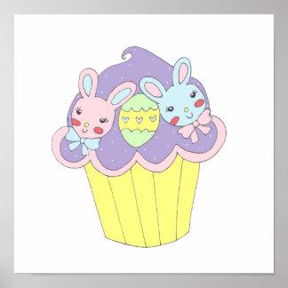 Cute Easter Bunnies Cupcake Posters