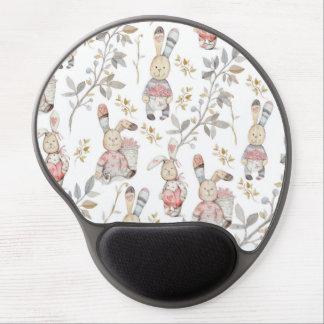 Cute Easter Bunnies Watercolor Pattern Gel Mouse Mat