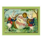 Cute Easter Bunnies with Big Easter Egg Postcard