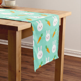 Cute easter bunny and carrots on aqua pattern short table runner