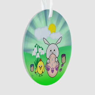 Cute Easter Bunny and chick Coloring Easter Egg