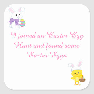 Cute Easter Bunny and Chick Easter Egg Hunt Square Sticker