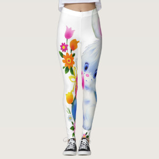 Cute Easter Bunny and eggs Holiday leggings