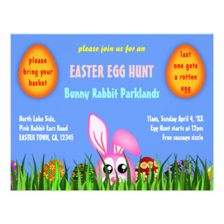 Cute Easter Bunny and Eggs in Grass Egg Hunt Flyer