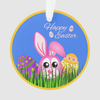 Cute Easter Bunny and Eggs in Grass Round Ornament