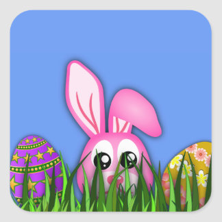 Cute Easter Bunny and Eggs in Grass Square Sticker